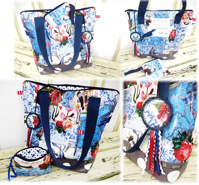 Tasche Blumen-blau